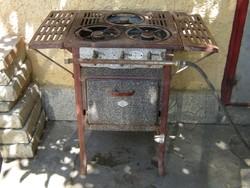 Első magyar gáztűzhely . Tűzhely konyha , pl. étterm -be vendéglő -s dekoráció -nak díszlet -nek
