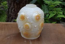 Retro lámpabúra lámpa búra bütykös színes üveg 13cm ø x 15,5 cm