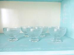 Retro fagylaltos készlet,vintage fagyis kelyhek,6 db üveg pohár