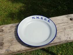 Vintage régi zománcos kék fehér zománcozott felíratos vas tányér