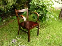 Antik Art Deco hajlított nagy karfás Kozma Lajos íróasztal szék az stabil állapotban