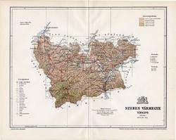 Szeben vármegye térkép 1897 (2), lexikon melléklet, Gönczy Pál, 23 x 29 cm, megye, Posner Károly