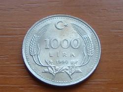 TÖRÖKORSZÁG 1000 LÍRA 1990 67% réz, 23% nikkel, 10% Cink 25,5 mm #