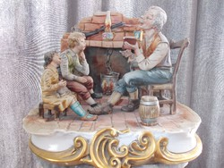 Eredeti antik nápolyi Capodimonte Nagyapó mesél az unokáknak porcelán