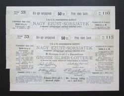 Nagy Ezüst-Sorsjáték sorsjegy 50 krajcár 1872 - Kaposvár kórház