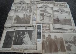 19 db Első világháborús újság'Unsere Krieger képes magazin magyarul is!