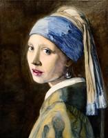 Johannes Vermeer: Lány gyöngy fülbevalóval (festménymásolat)