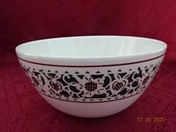 Gránit porcelán köretes tál, zöld motívummal, felső átmérője 22 cm.