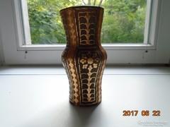 Spanyol kézműves terrakotta aranyvirágos bőrrel bevont váza