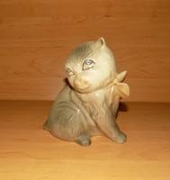 Régi szovjet - orosz VERBILKI porcelán art deco csokor nyakkendős macska cica figura 14 cm (po-1)