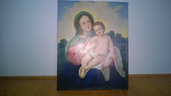 1800s, Mary with little Jesus church themed painting antique, restored 63x80 cm