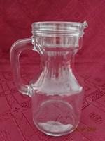 Olasz fél literes üveg kancsó, magassága 16 cm.