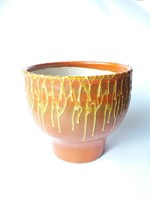 Retro kerámia kaspó narancssárga-barna alapon sárga folyatott mázzal - iparművész virágtartó