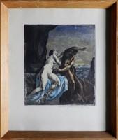 Iványi Grünwald Béla Mitológiai jelenet, színezett rézkarc