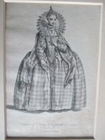 Erzsébet angol királynő 1559-ben: antik metszet