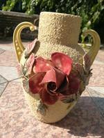 Antik Rózsás váza majolika, fajansz. Mutatós, Zsolnay, Schütz, Znaim?.
