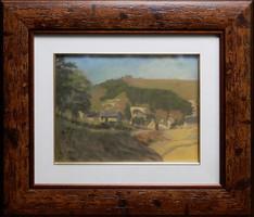 Poll Hugó Falu a dombok alatt, pasztell festmény