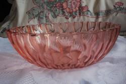 Retro vastagfalú, súlyos, lazac, rózsaszín üveg tál