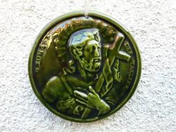 Keresztelő Szent János - sötétzöld mázas kerámia falikép