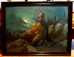 """Olajfestmény """"Jézus az olajfák hegyén"""" , az 1900-as évekből, 68x88 cm"""
