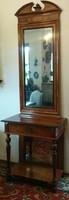 Antik tükör, tükörbetétes konzol asztallal