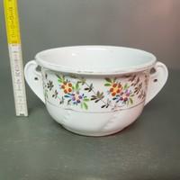 Porcelán nagy komacsésze, színes, aranyozott virágmintás dekorral (1234)