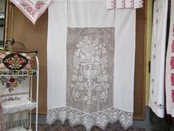 Szép régi csipke betétes függöny
