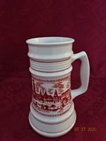 Alföldi porcelán nagy sörös korsó, Sopron felirattal és látképpel.