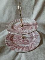 Angol Myott Royal Mail porcelán emeletes asztalközép, kínáló
