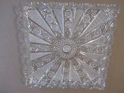 Dúsan csiszolt 28 cm x 28 cm Ajka kristály  tálca