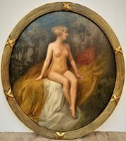 Rudolf FUCHS (1868-1918) Pihenő akt 1912 olajfestmény 75x70cm EREDETI GARANCIÁVAl !