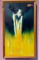 Rémület, Szabadulás a pokol kapujából, modern felfogású olajfestmény, kerettel