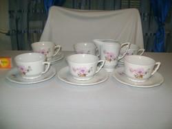 Antik Zsolnay, rózsaszín barackvirágos teás készlet - csészék, tányérok, tejszínes