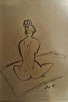 "Kata Szabo:""nude"", charcoal drawing, 40 x 30 watercolor paper, beautiful frame"