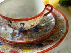Kézzel festett japán reggeliző szett 3 részes, teás csésze kistányérok