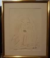 """Kata Szabo:""""Madonna"""",charcoal drawing, with frame 50x40, watercolor paper, beautiful frame, signed"""