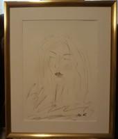 """Szabó Kata: """"Madonna"""",szénrajz, kerettel 50 x 40 cm, akvarell papír, szép kerettel, szignózott"""