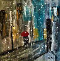 "Kata Szabo: ""winter evening"" acrylic painting, canvas, 30 x 30 cm, signed"