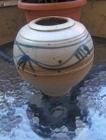 Retro német kerámia gömb váza átm. 15 cm (11/d)