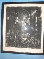 Aba-Novák Vilmos - Savonarola, 1927, rézkarc,Luttor Ferencnek ajánlva, árkádia neoklasszicizmus