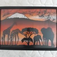 Tanzániai néprajzi festmény. 65×45 Textil