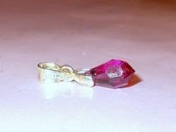 Természetes Rózsaszínű Rubin Csepp Ezüst -  18k Fehérarany Medál