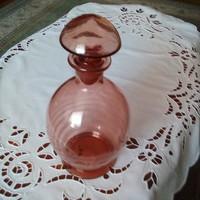 Antik csiszolt rózsaszín fújt üveg 24 cm hibátlan