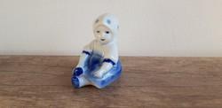Zsolnay porcelán annuska kislány kék