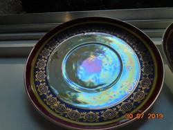 2 db Altwien jellegű gyöngyház mázas csipkézett arany mintás teás csésze alátét