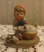 Little girl with hen, ceramic figurine, unmarked