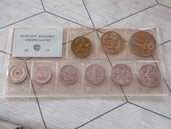Forgalmi sor 1977.Current Hungarian  Uncirculated coins