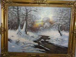 Régi szignált olaj festmény