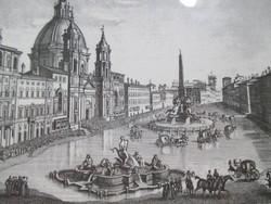Római városkép: Piazza Navona, 19. század. Acélmetszet az Edizioni Ponte Vecchio domborpecsétjével