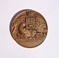 "Francia bronz plakett, A. Saladin ""Le havre porte oceane La ville du havre"""